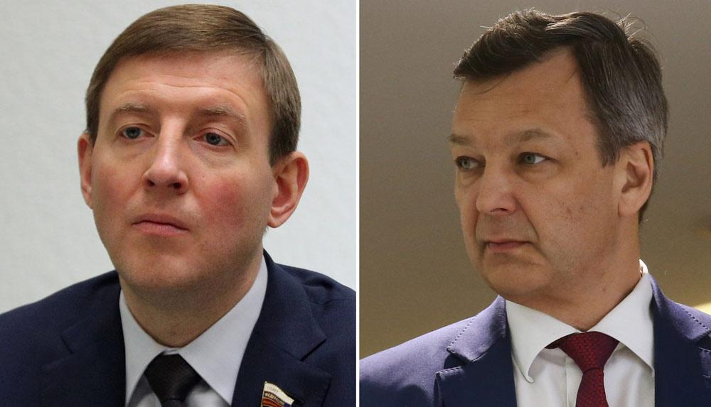 <p>Андрей Турчак (слева) и Андрей Яцкин. Фото © ТАСС / Терещенко Михаил / Фадеичев Сергей</p>