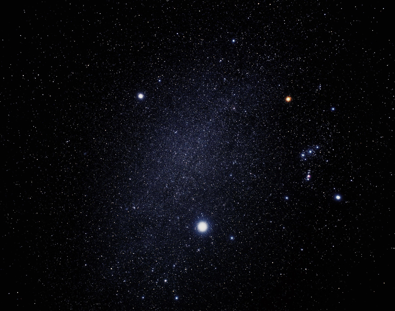 Сириус (самая яркая звезда), Процион (выше и левее) и созвездие Ориона (справа). Между Сириусом и Проционом хорошо виден участок Млечного Пути. Фото ©NASA