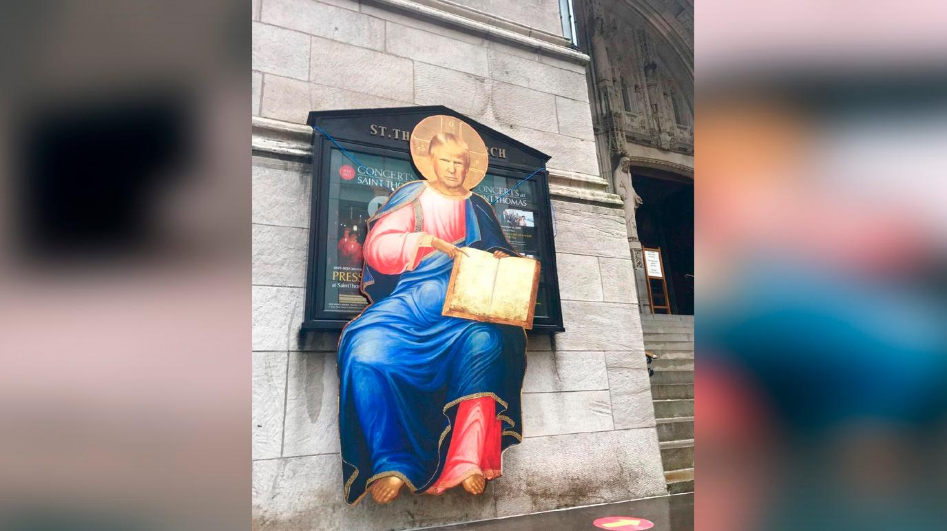 В центре Нью-Йорка накануне президентских выборов появилась икона с Дональдом Трампом