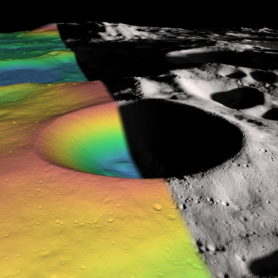 Богатый водяным льдом кратер Шеклтон рядом с Южным полюсом Луны. Фото ©NASA