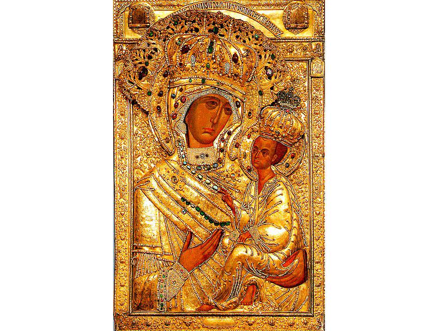 Тихвинская икона Божией Матери в окладе. Фото © Wikipedia