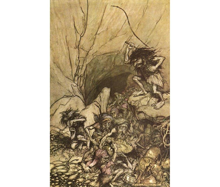 """Альберик и другие нибелунги отдают Зигфриду сокровища. Рис. Артура Рэкхема к эпической поэме """"Песнь о нибелунгах"""". Фото © Wikipedia"""