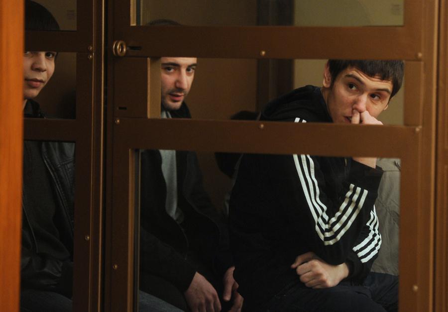 Ахмед Евлоев, Ислам Яндиев и Башир Хамхоев (слева направо) в Московском областном суде. Фото © ИТАР-ТАСС / Валерий Шарифулин