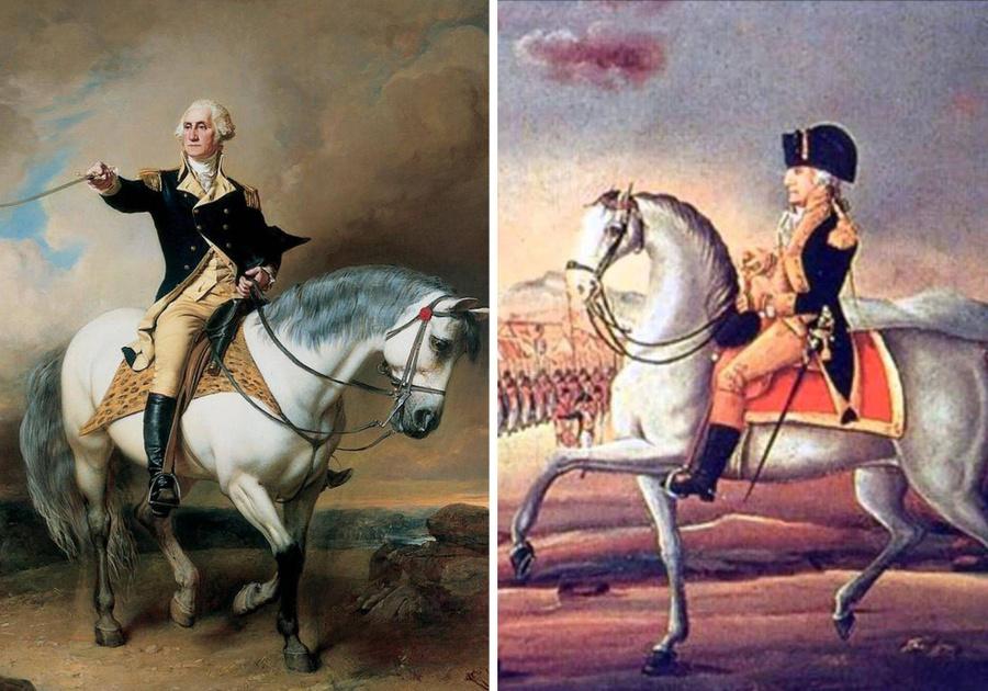 Джордж Вашингтон (слева) и Томас Джефферсон. Изображение © Wikimedia Commons / Кадр из видео © Youtube / Jarod Hill