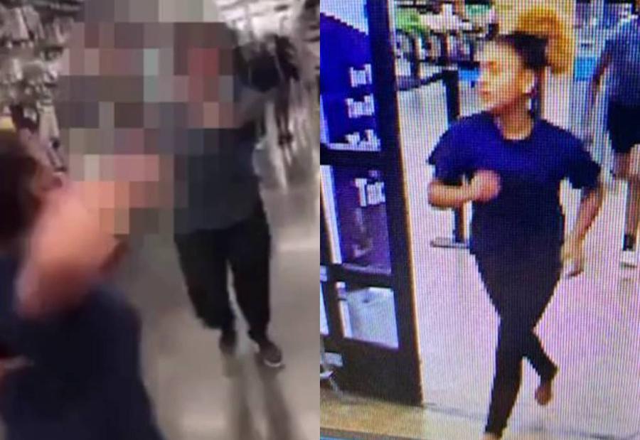 Справа — одна из нападавших. Скриншот © YouTube / Joseph Morris. Фото © Facebook / Calcasieu Parish Sheriff's Office