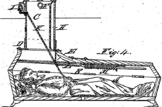 Проект гроба с сигнальным устройством, 1868 год. Изображение © United States Patent and Trademark Office
