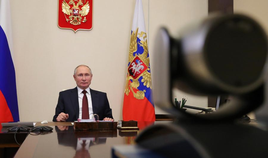 """<p>Президент Владимир Путин входе заседания Совета понауке иобразованию (врежиме видеоконференции). Фото © <a href=""""http://kremlin.ru/events/president/news/64977/photos/65224"""" target=""""_blank"""" rel=""""noopener noreferrer"""">Kremlin.ru </a></p>"""
