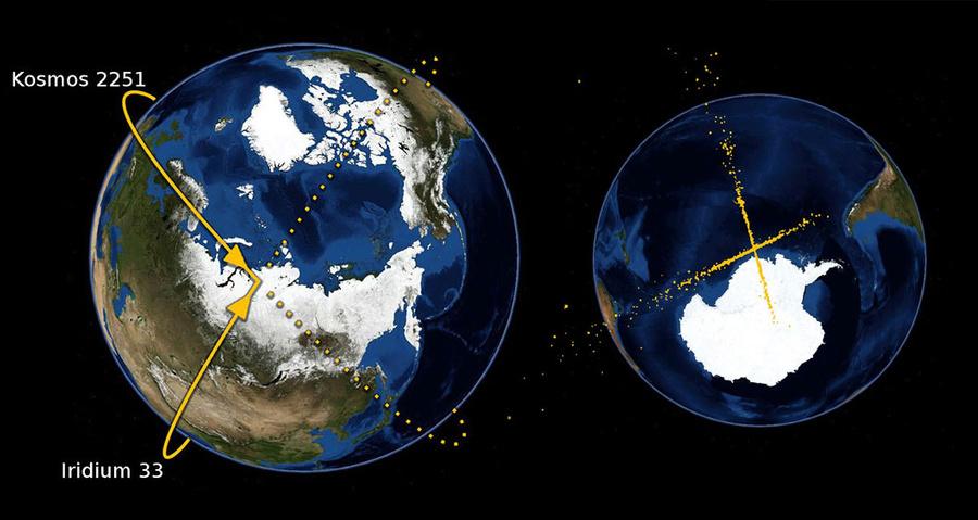 "Столкновение спутников ""Космос-2251"" и Iridium 33. Фото © Wikipedia"