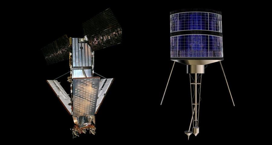 "Копия спутника системы ""Иридиум"" (слева), спутник типа ""Стрела-2М"" (тот же тип, что и у спутника ""Космос-2251"") (справа). Фото © Wikipedia"