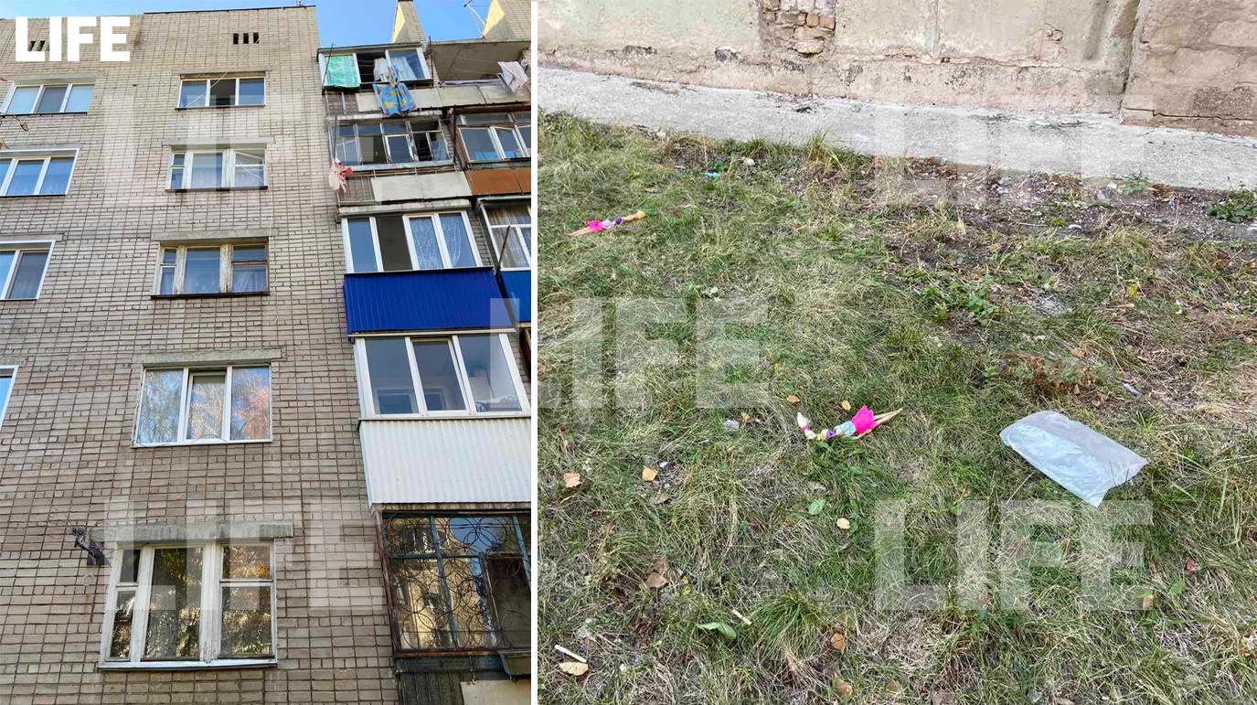 Дом в Сызрани, из окна которого выпали малолетние девочки / Место падения детей, их игрушки. Фото © LIFE