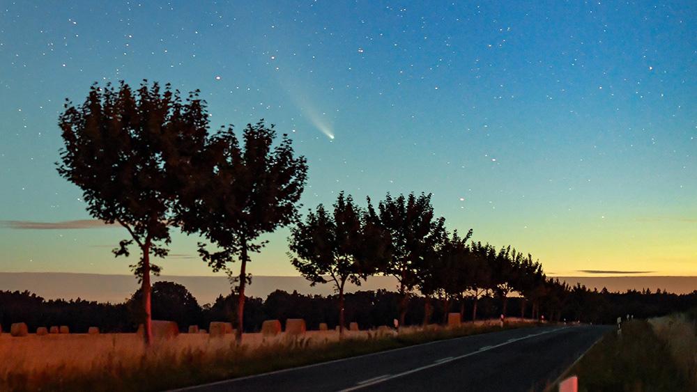 Комета Neowise в июле 2020 года. Фото © ТАСС / dpa / Patrick Pleul