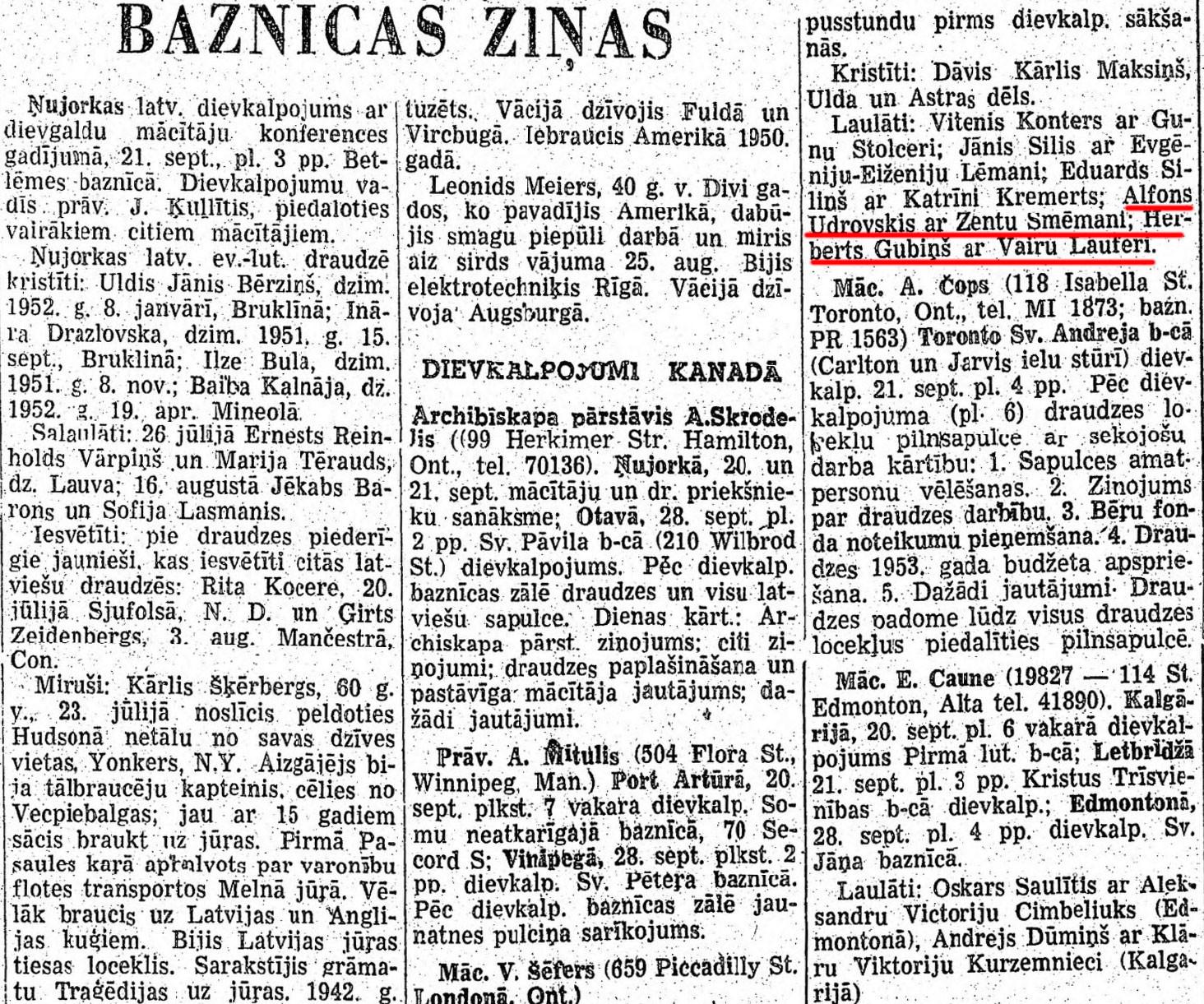 Последнее упоминание об Альфонсе Удровскисе в торонтской газете. Фото © newspapers.lib.sfu.ca