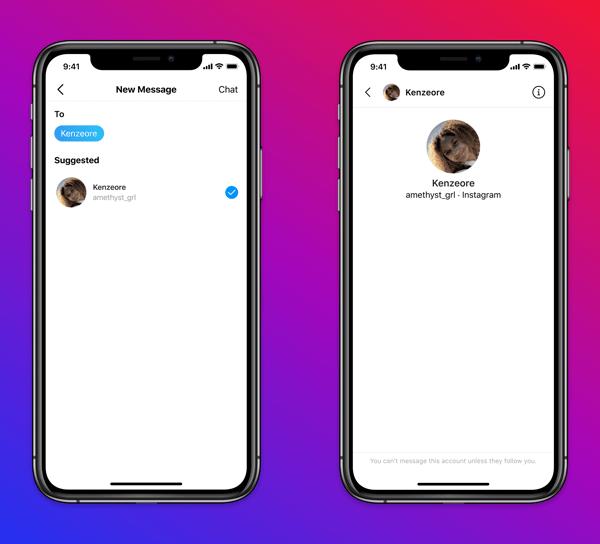 """Совершеннолетние пользователи """"Инстаграма"""" больше не смогут отправить в соцсети сообщение человеку младше 18 лет, если он на них не подписан. Фото © Instagram"""