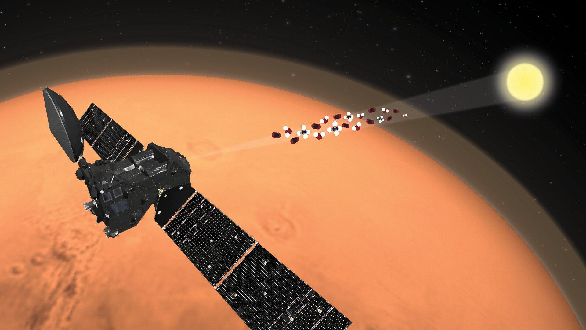 """Межпланетная станция Trace Gas Orbiter, работающая на орбите вокруг Марса с 2016 года в рамках миссии """"ЭкзоМарс"""". Фото © ESA"""