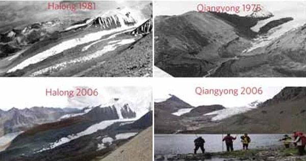 Ледники Halong и Quiangyong в Тибете, сравнение старых и более современных снимков. Фото ©Nature