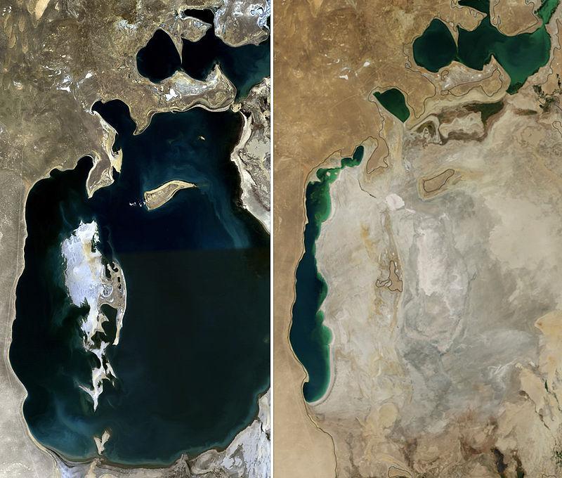 Аральское море в 1989 году (слева) и в 2014 году (справа). Фото ©NASA