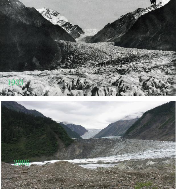 Тибетский ледник Ата в 1933 году (вверху) и в 2006 году (внизу). Фото ©Nature