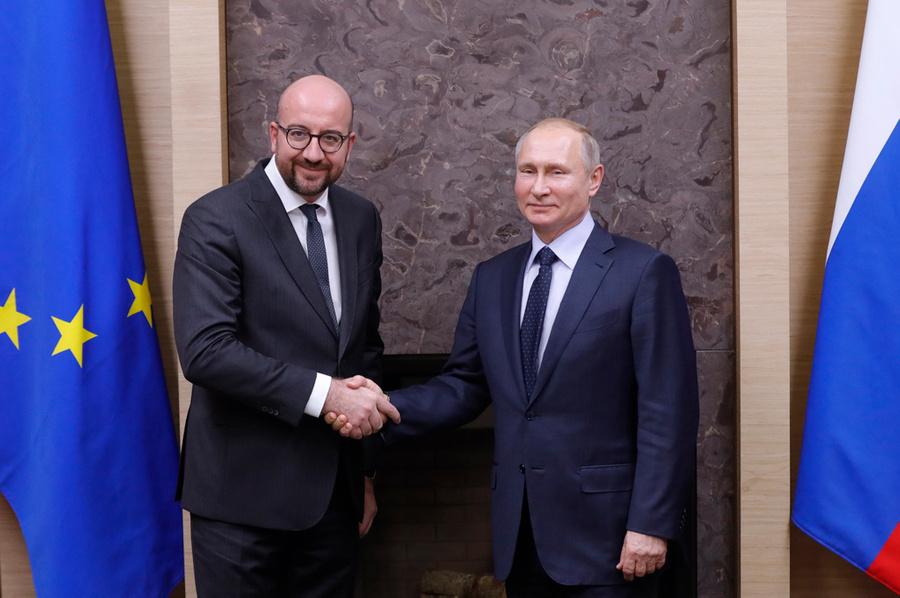 <p>Шарль Мишель и Владимир Путин. Фото © ТАСС / Михаил Метцель</p>