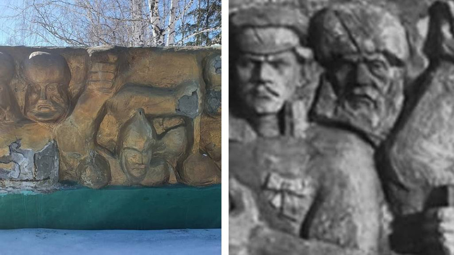 """<p>Слева — отреставрированный монумент, справа — оригинал 1973 года. Фото © """"ВКонтакте"""" / """"<a href=""""https://vk.com/kataisksiti"""" target=""""_blank"""" rel=""""noopener noreferrer"""">[ТК] ТИПИЧНЫЙ КАТАЙСК</a>""""</p>"""