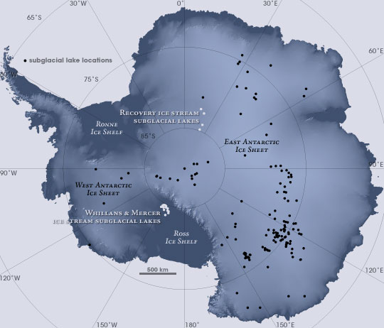 Карта подлёдных озёр Антарктиды. Фото © NASA