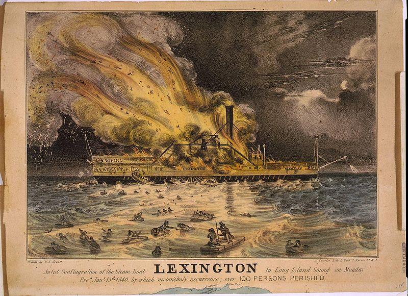 "Литография пожара на борту ""Лексингтона"". Фото © Wikipedia"