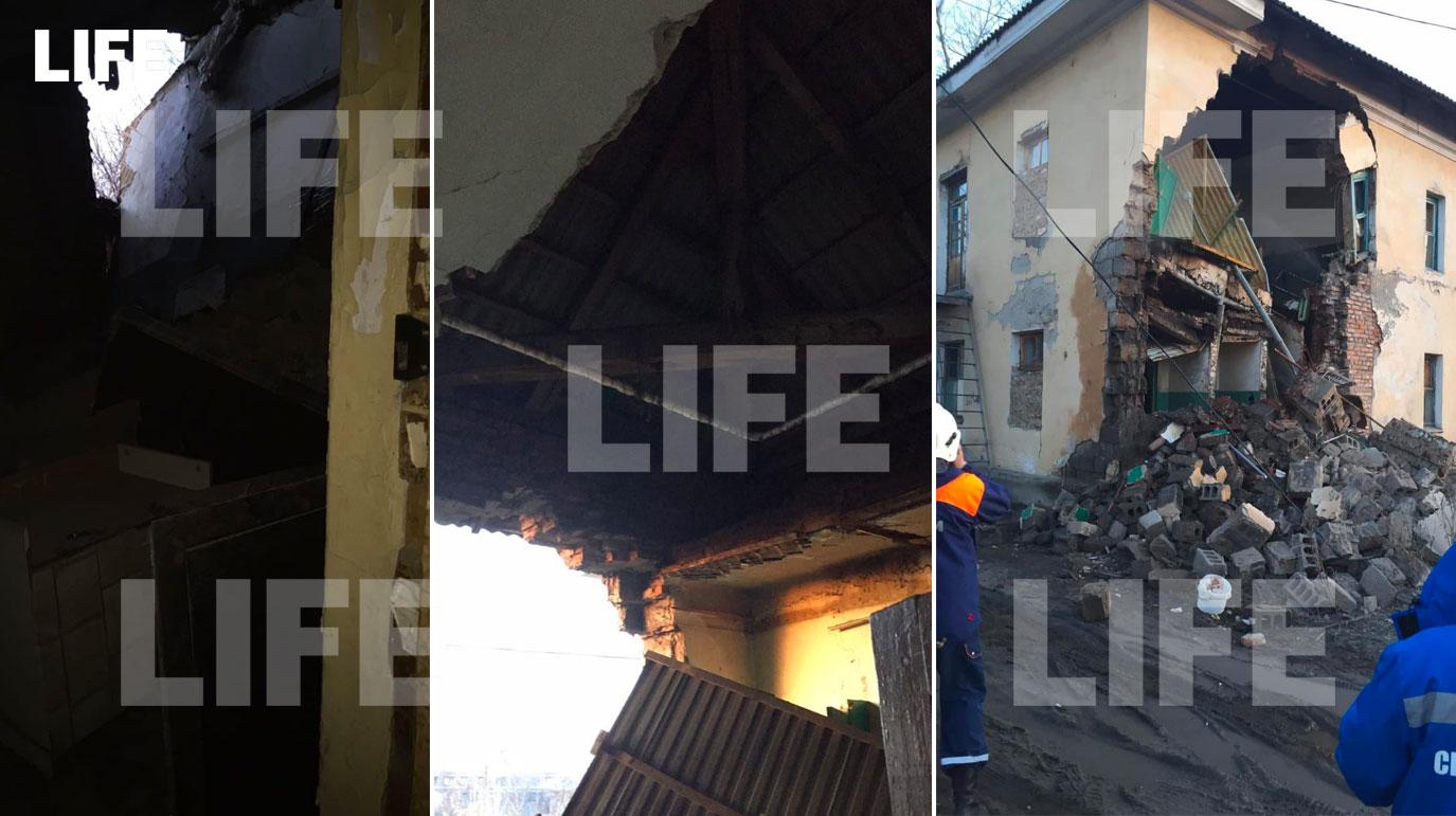 Стена жилого дома обрушилась в Канске. Лайф публикует первые фото изнутри