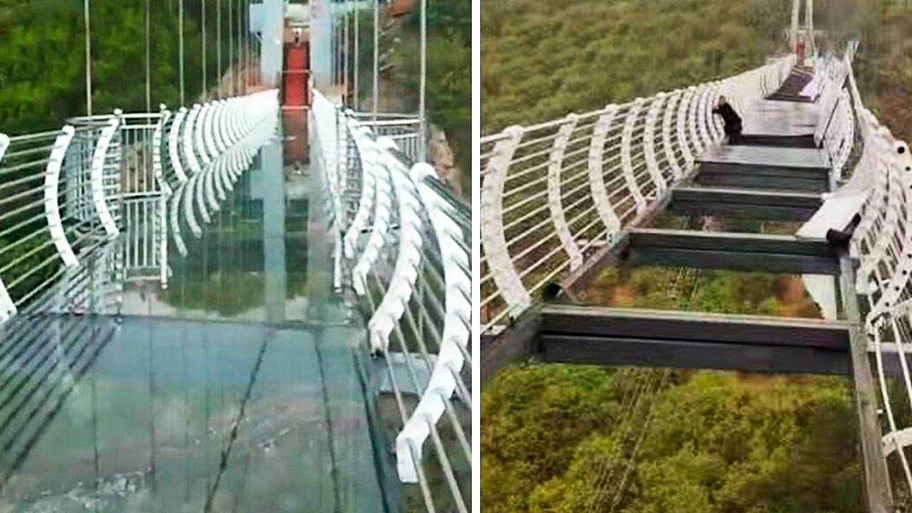 Сеть шокировали фото с туристом, застрявшим на разбившемся стеклянном мосту