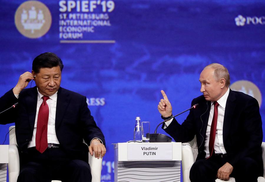 <p>Председатель КНР Си Цзиньпин и президент РФ Владимир Путин. Фото © ТАСС / Метцель Михаил</p>