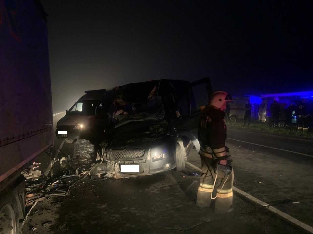 Один человек погиб и восемь пострадали в страшном ДТП с микроавтобусом и грузовиком под Тулой