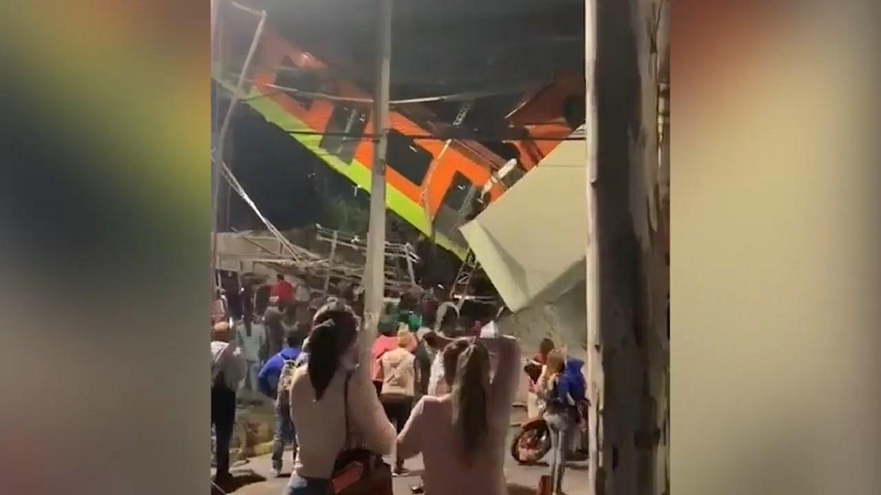 Рухнул на машины: опубликовано видео с моментом крушения метромоста в Мехико