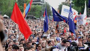 "Митинг в центре Еревана с георгиевскими флагами. Фото © Телеграм-канал ""Альянс Армении"""