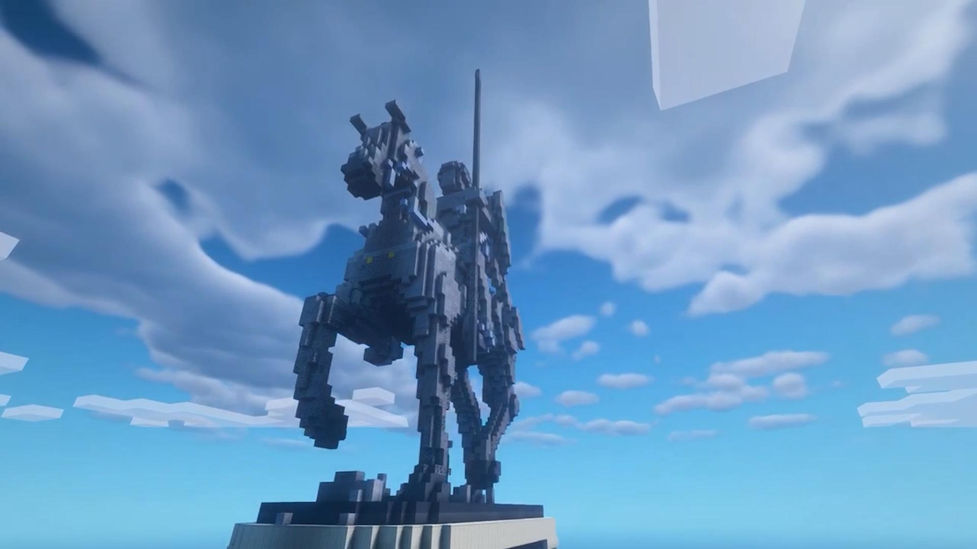 Российская школьница воссоздала памятник Александру Невскому в игре Minecraft