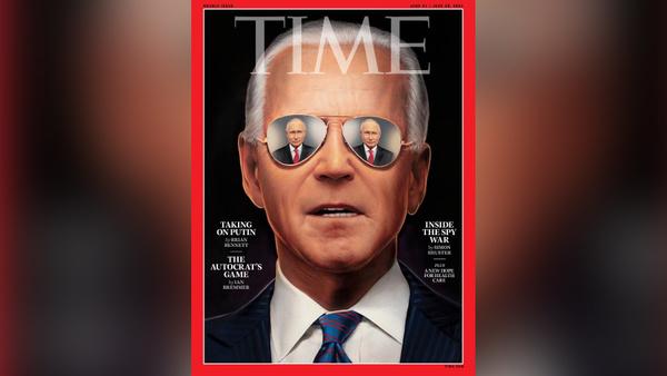 Скрывается испуганный взгляд оленя: В Сети высмеяли Байдена в очках с отражением Путина на обложке Time