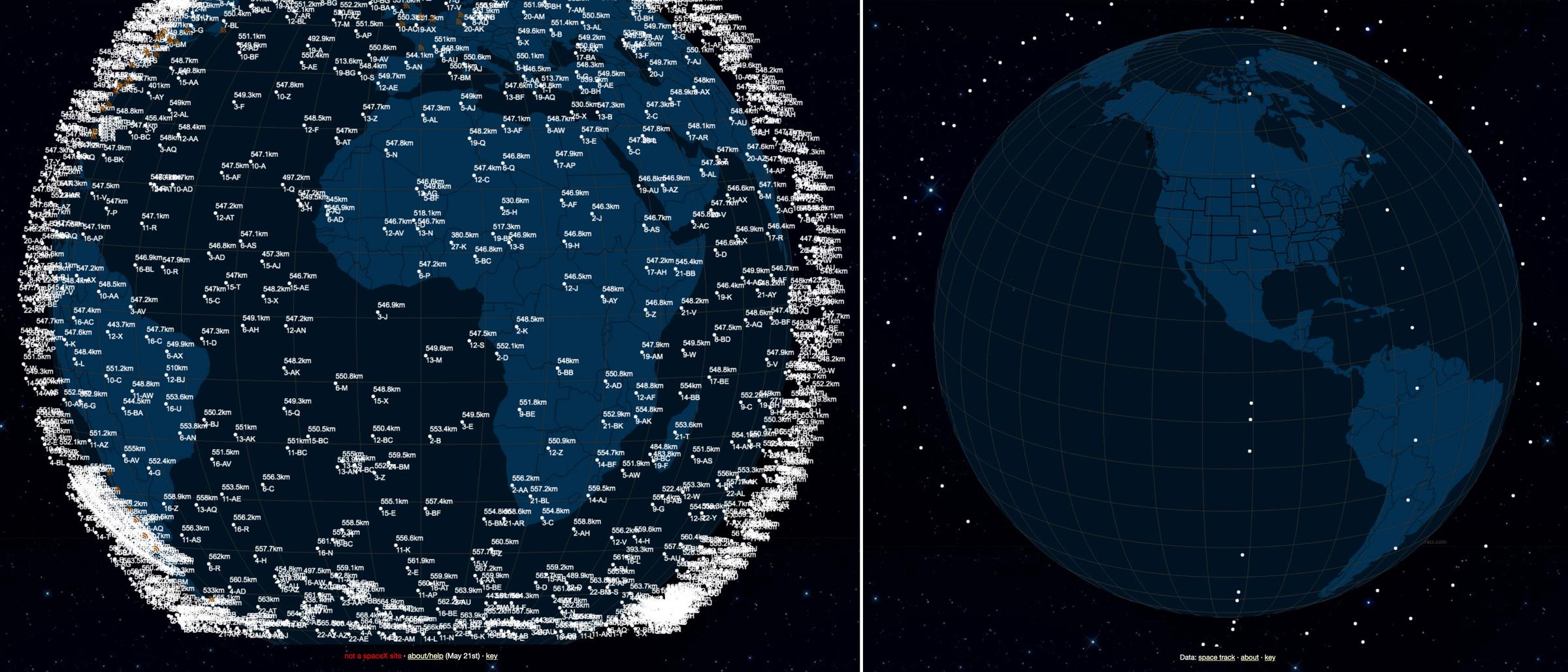Спутники SpaceX и OneWeb на орбите Земли. Фото © satellitemap.space