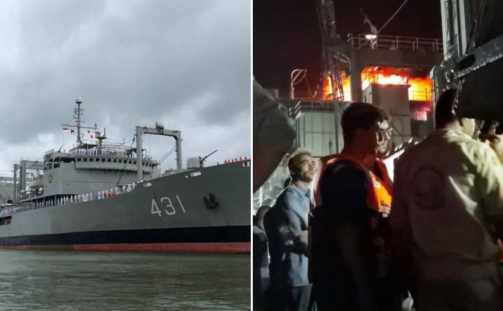 В Персидском заливе загорелся, а потом затонул один из крупнейших кораблей ВМС Ирана