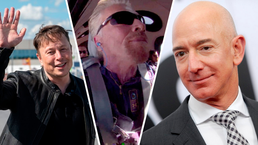 "<p>Илон Маск, Ричард Брэнсон, Джефф Безос (слева направо). Коллаж © LIFE. Фото © ТАСС / dpa / picture-alliance / Twitter / <a href=""https://twitter.com/richardbranson/status/1414267119743782919/photo/1"" target=""_blank"" rel=""noopener noreferrer"">Richard Branson</a> / ТАСС / imago images / MediaPunch</p>"