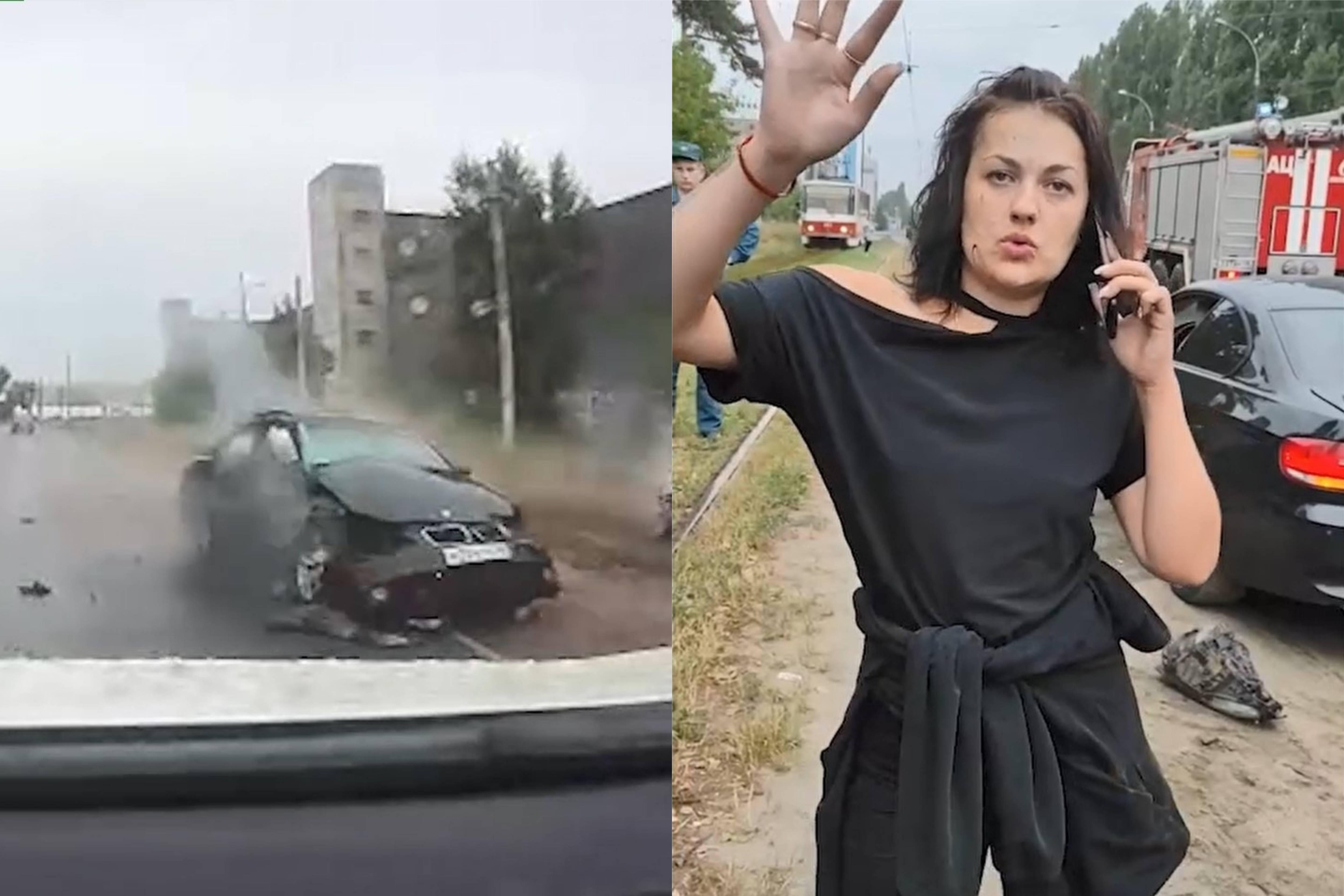 В Липецке пьяная автоледи станцевала перед камерой, врезавшись в машину с ребёнком на встречке