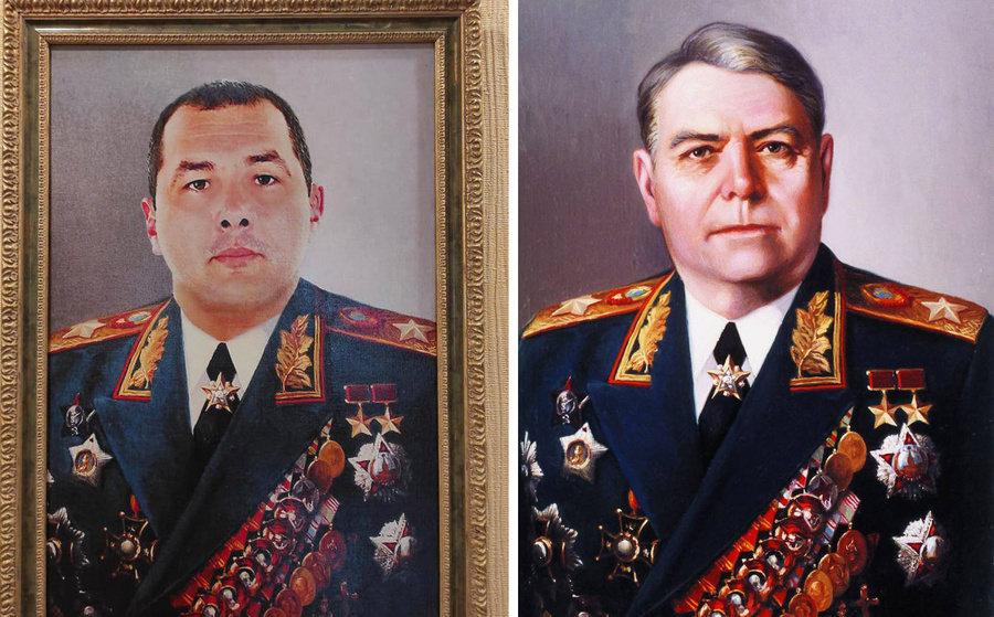<p>Экс-начальник МРЭО Таганрога (слева) и маршал Александр Василевский (справа). Фото © Соцсети</p>
