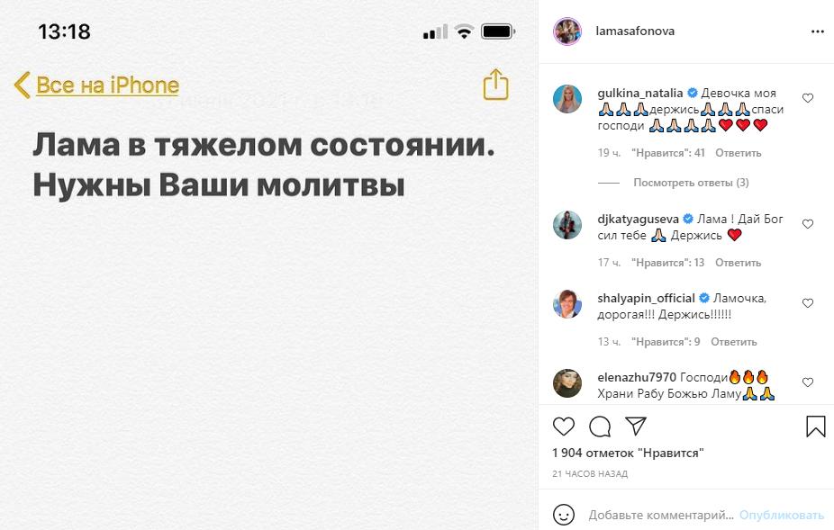 Скриншот © Instagram / lamasafonova
