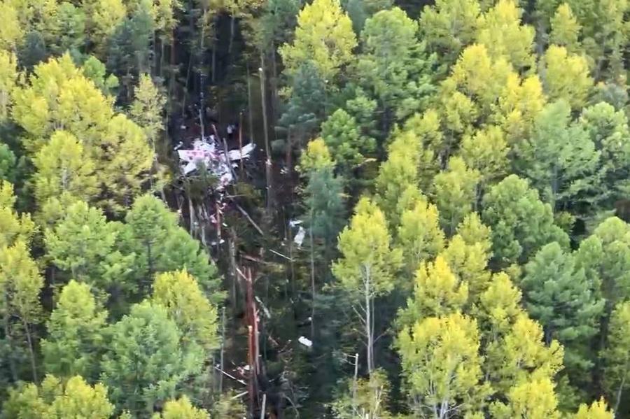 Место падения пассажирского самолёта L-410. Фото © ТАСС / Пресс-служба Правительства Иркутской области
