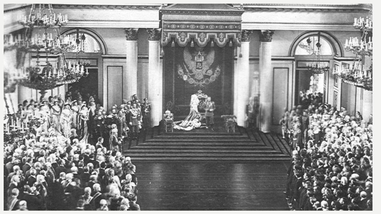 Император Николай II произносит речь в день открытия первой Государственной думы в Георгиевском зале Зимнего дворца. 27 апреля 1906 года. Фото © duma.gov.ru