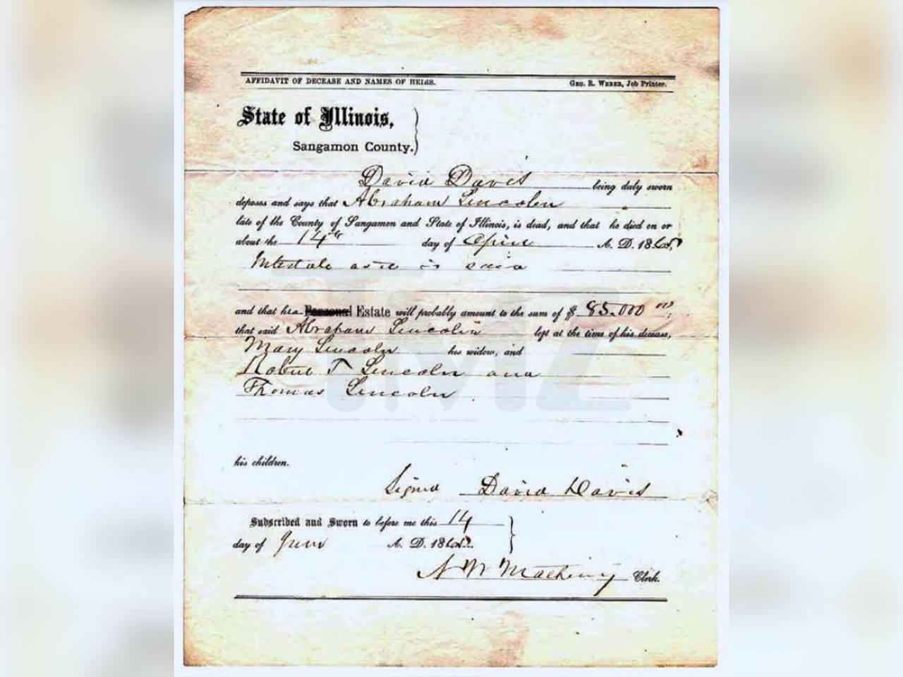 Свидетельство о смерти 16-го президента США Авраама Линкольна. Фото © TMZ