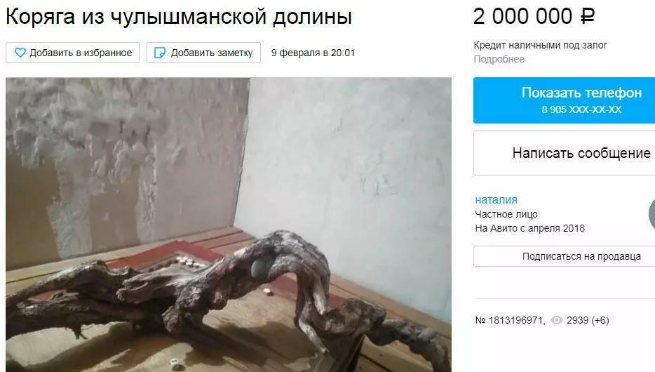 Объявление о продаже коряги. Фото © Avito