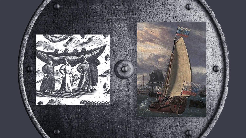 Переноска лодки-струга русскими промысловиками (слева). Струг, 1696 год, картина голландского художника того времени Абрахама Сторка (справа). Фото © Википедия, Shutterstock