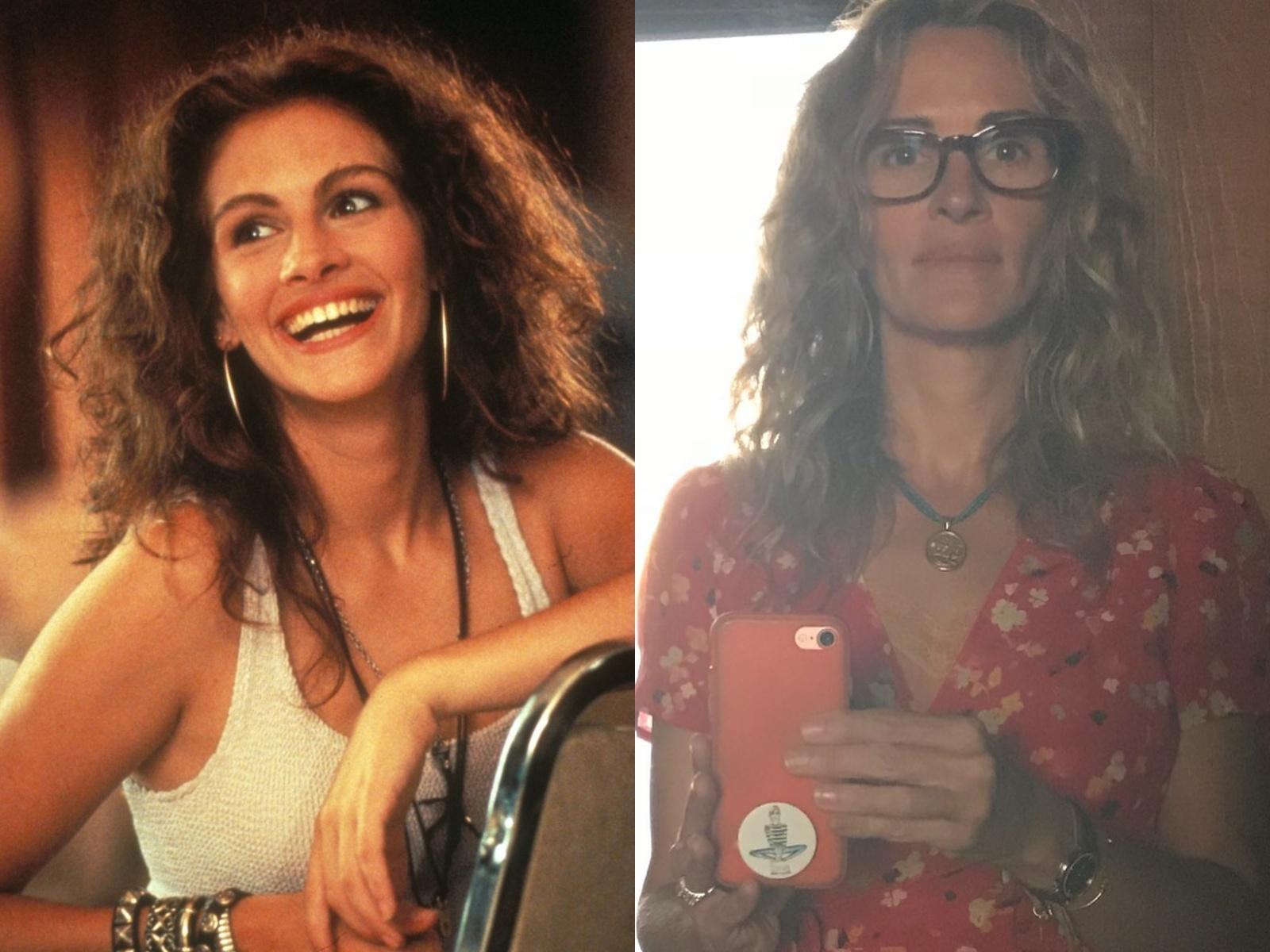 """Справа — новое селфи Джулии Робертс. Слева — кадр из фильма """"Красотка"""" © """"Кинопоиск"""", фото © Instagram / juliaroberts"""