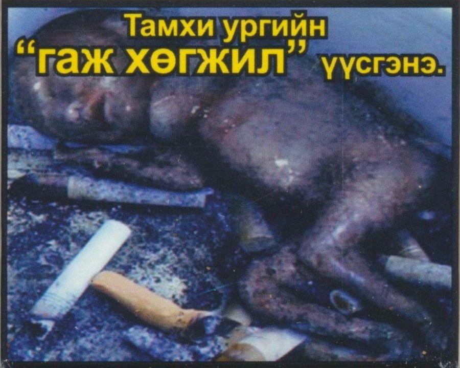 Одна из самых жутких сигаретных пачек в Монголии. Надпись говорит об угрозе беременным
