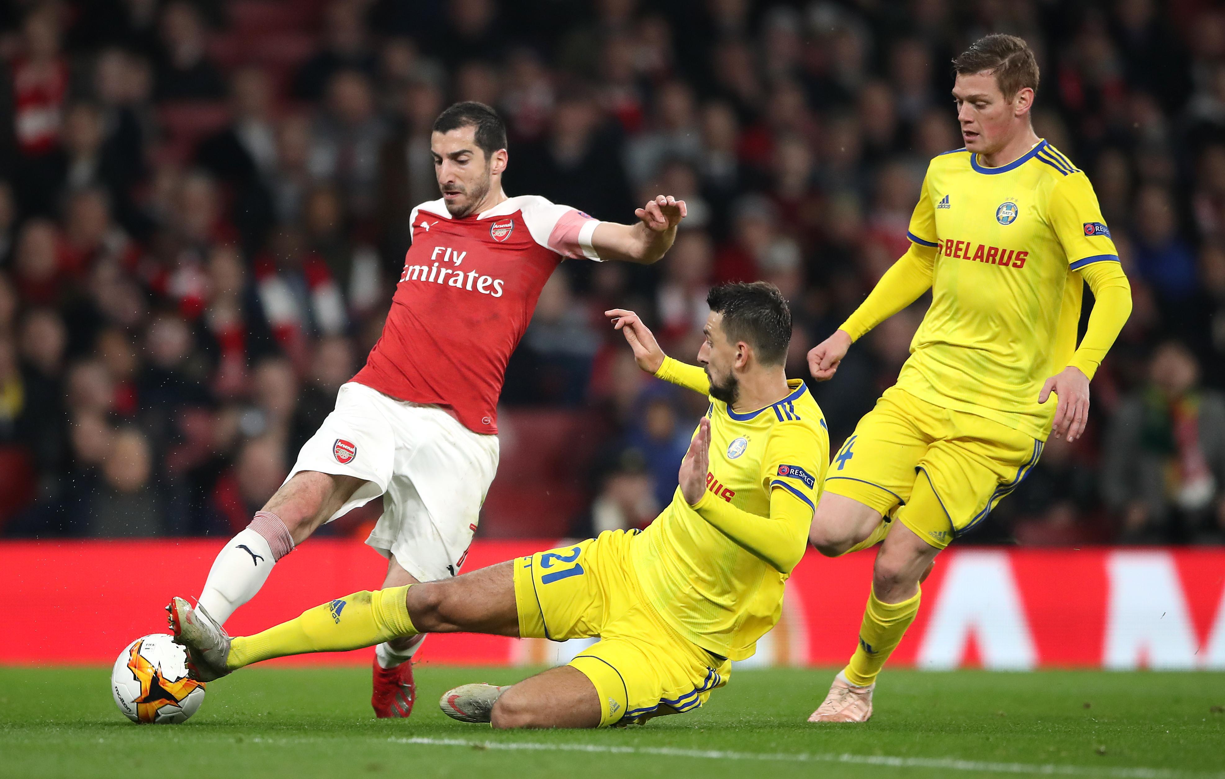 """БАТЭ бьётся с """"Арсеналом"""" в Лиге Европы в феврале 2019 года. Фото © FA Bobo / PIXSELL / PA Image / Nick Potts"""