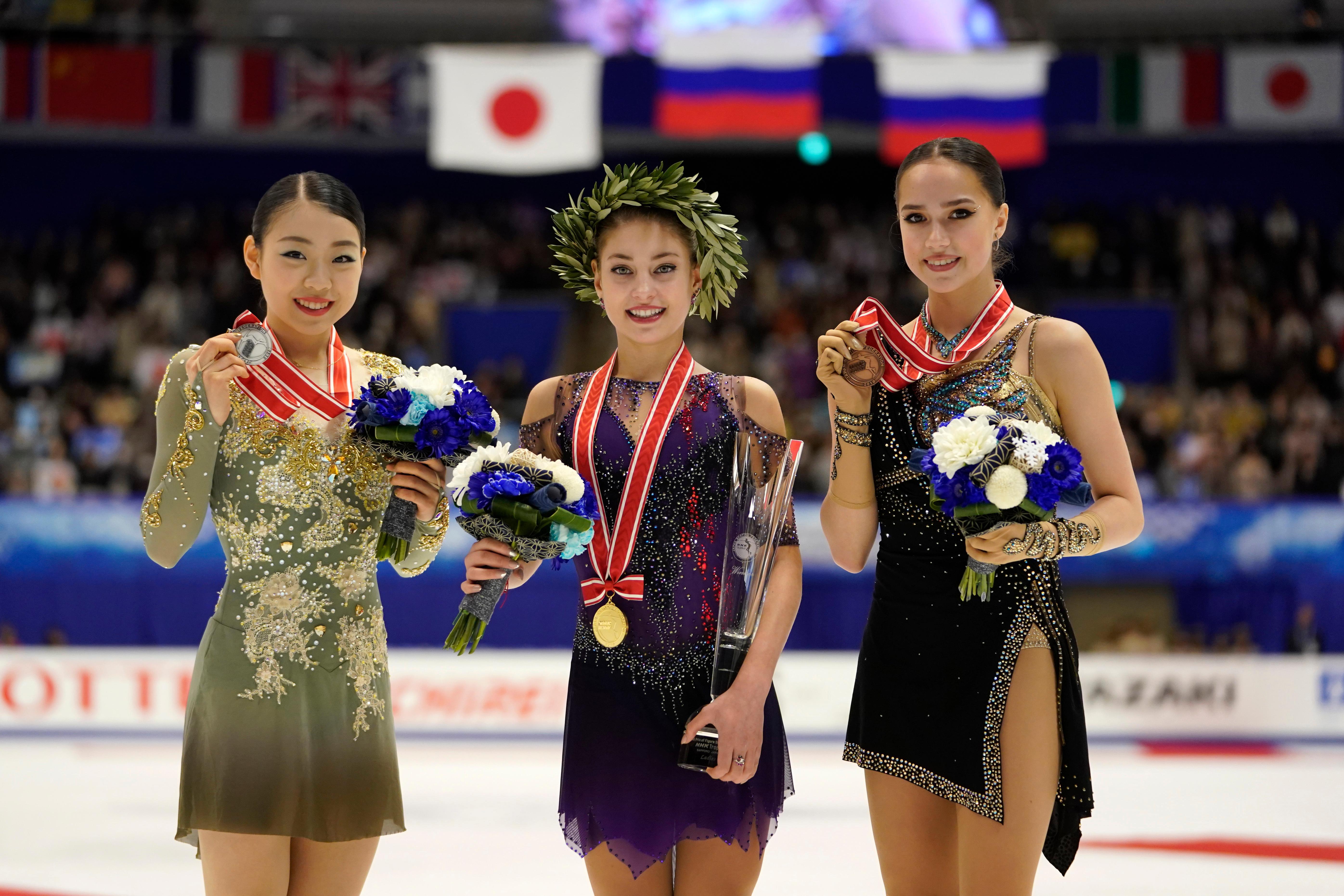 Кихира, Косторная и Загитова. Фото © AP / TASS / Toru Hanai