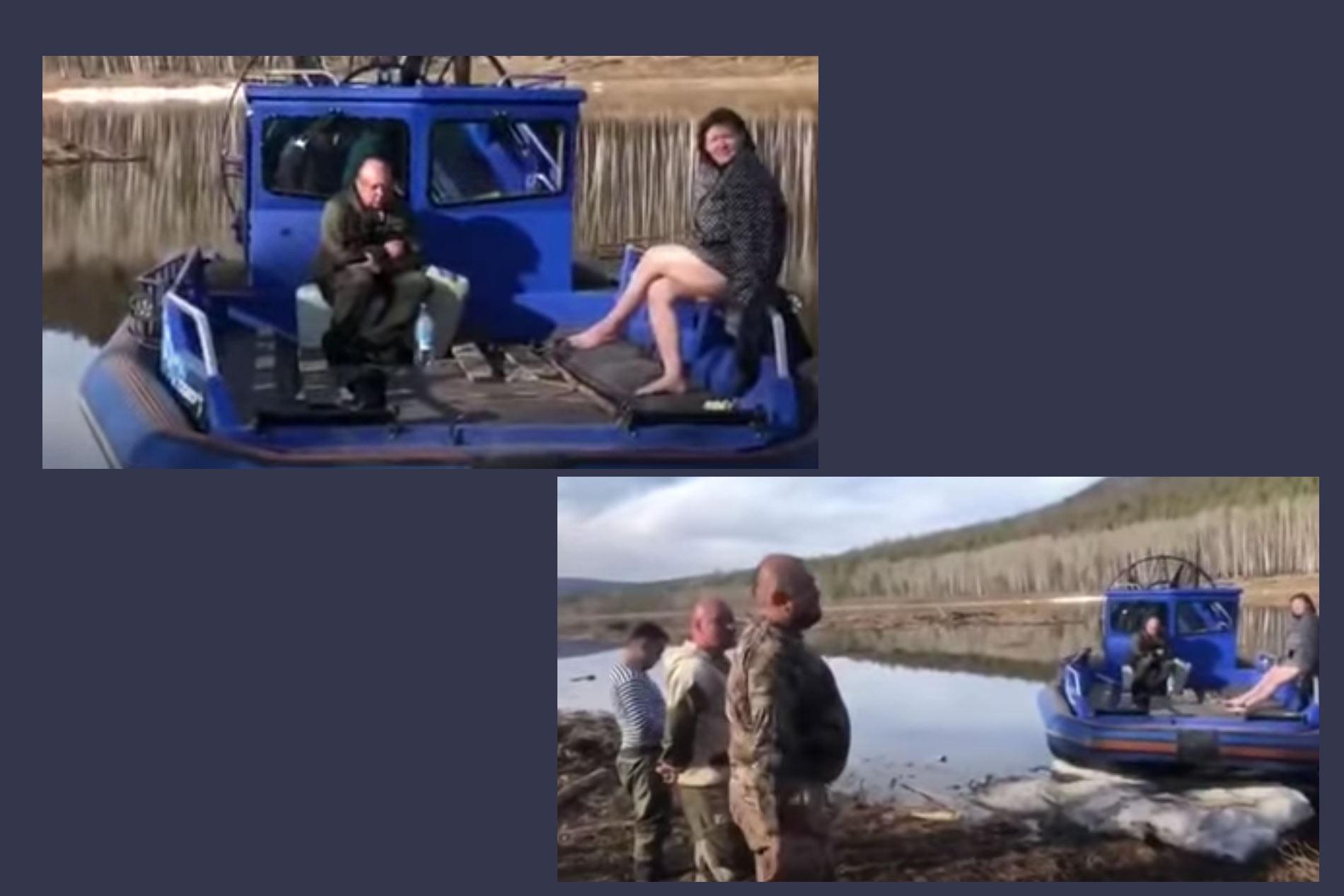"""Кадры пойманных чиновников на лодке из скандального видео ©YouTube / АНО """"Центр гражданского содействия"""""""
