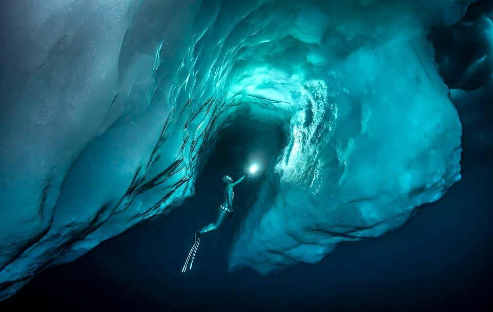Что же кроется под верхушкой айсберга: 10 потрясающих фото, сделанных дайверами при температуре –27